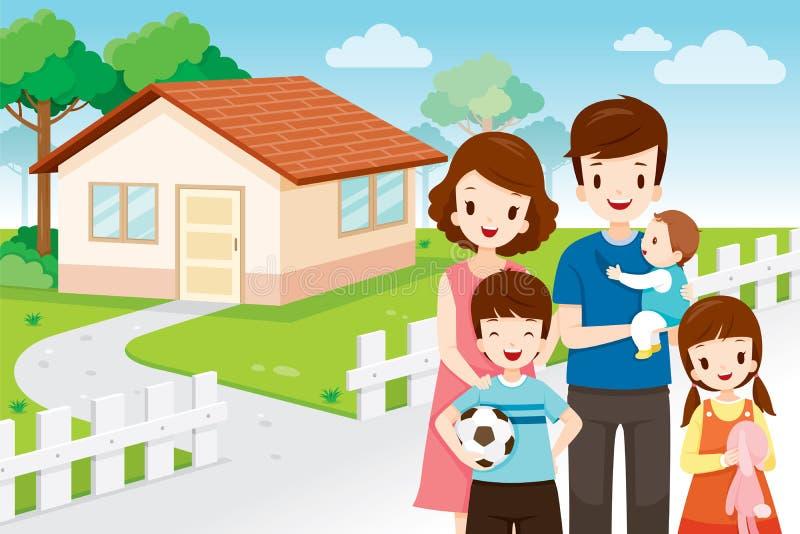 Padre, madre, figlio e figlia stanti Front Their Family Hom royalty illustrazione gratis