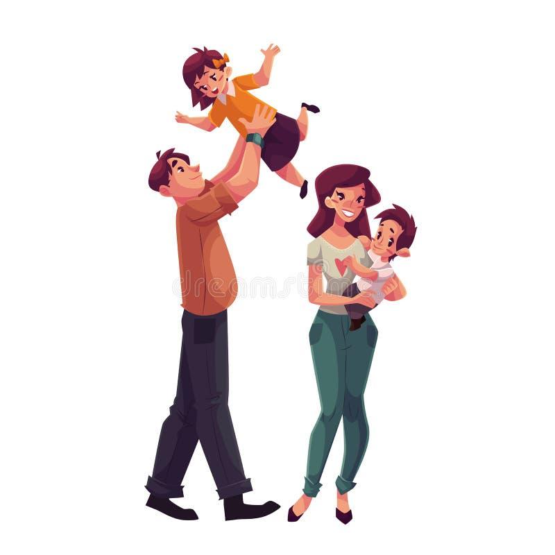Padre, madre, hija e hijo, concepto de familia feliz ilustración del vector
