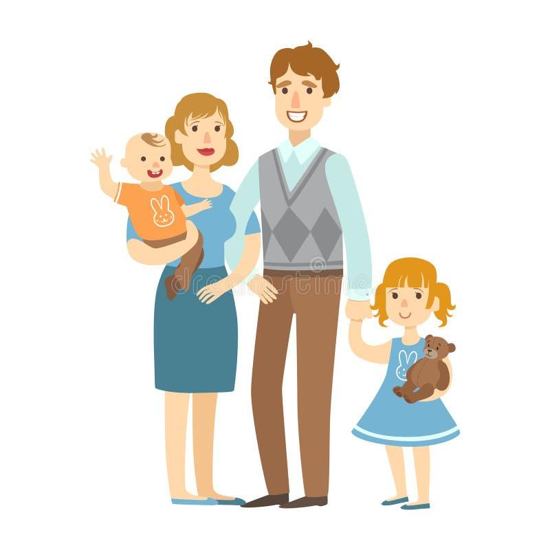 Padre, madre, neonato e piccola figlia, illustrazione dalla serie amorosa felice delle famiglie illustrazione di stock