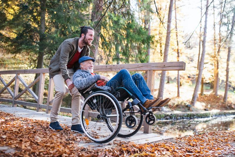 Padre mayor con la silla de ruedas y su hijo en paseo en naturaleza foto de archivo