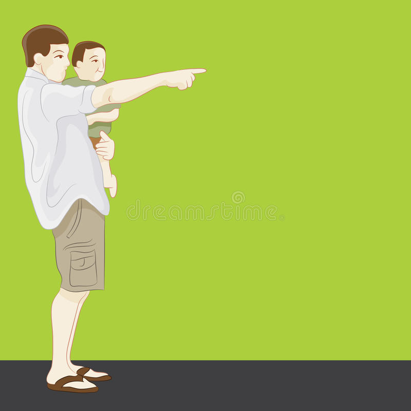 Padre Pointing ilustración del vector