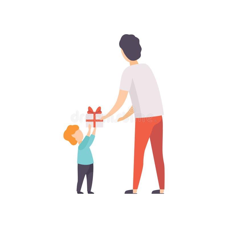 Padre que da la caja de regalo adornada con el arco rojo a su pequeño hijo, gente de la cinta que celebra vector del concepto del libre illustration