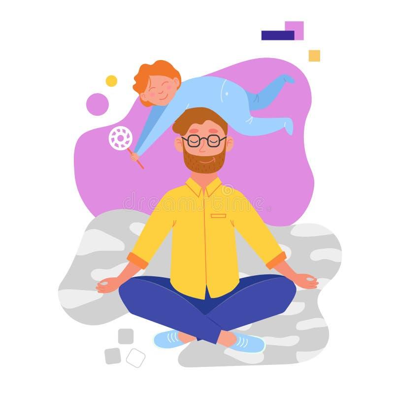 Padre que hace yoga y que medita visitar en una actitud del loto con un beb? travieso lindo en su cabeza Ejemplo en vector ilustración del vector