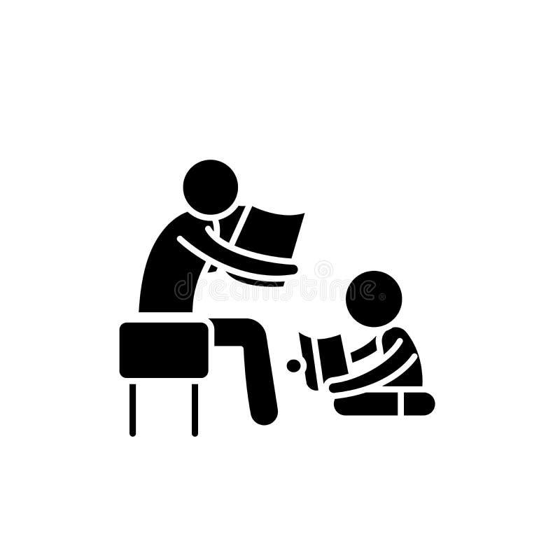 Padre que lee una historia a un icono del negro del niño, muestra del vector en fondo aislado Padre que lee una historia a un niñ stock de ilustración
