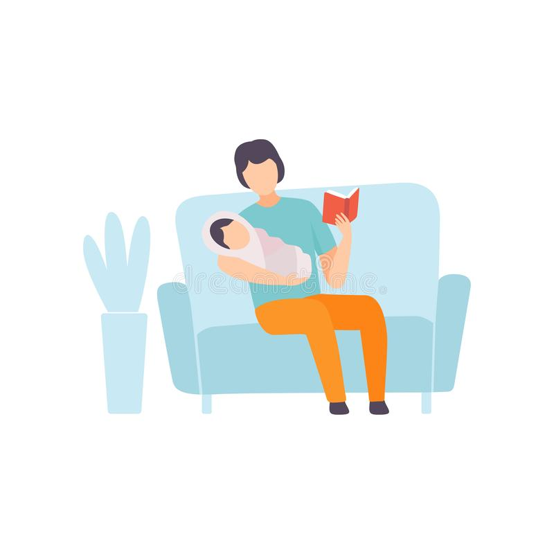 Padre Reading Bedtime Story a su bebé, padre que toma cuidado de su ejemplo del vector del niño libre illustration
