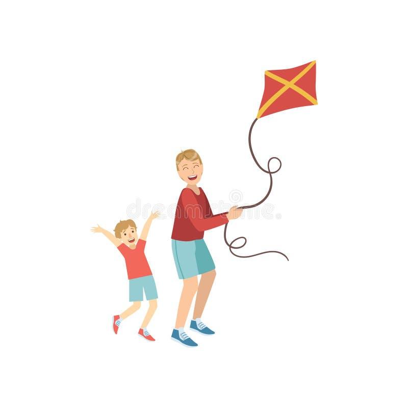 Padre And Son Flying la cometa libre illustration