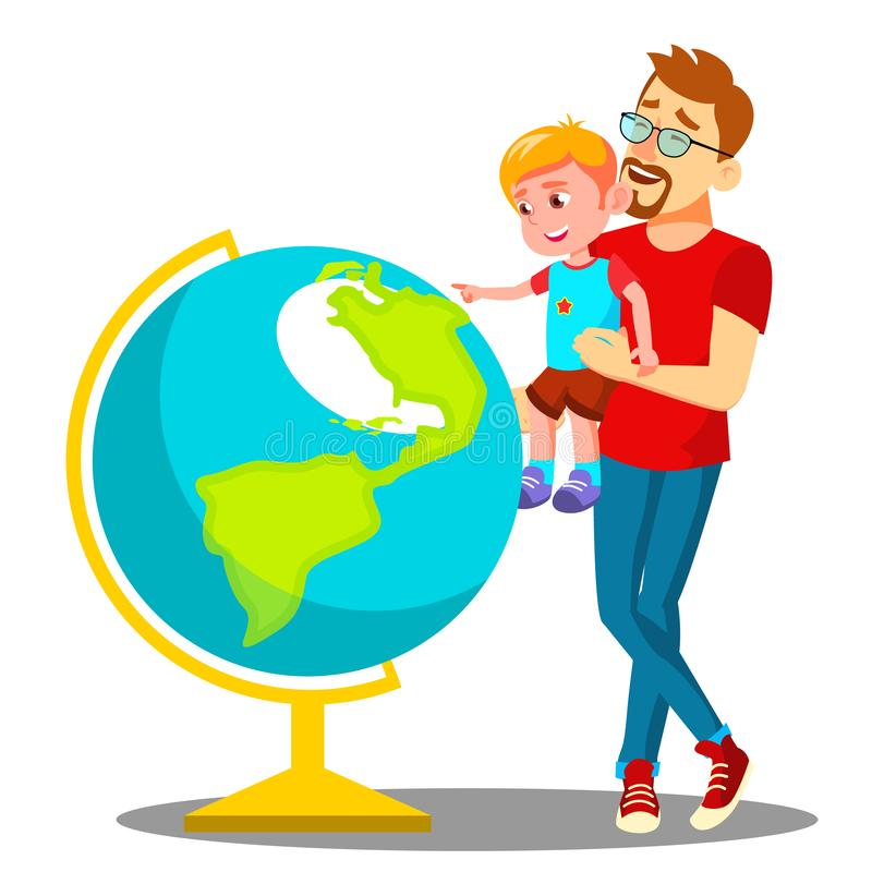 Padre And Son Looking en el vector de The Globe Ilustración aislada stock de ilustración