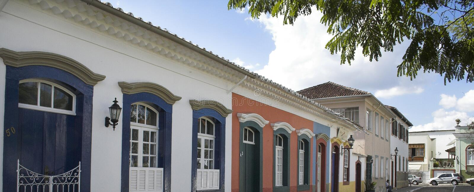 Padre Xavier Street Sao Joao del Rey. Padre Xavier, a typical street in Sao Joao del Rey, Minas Gerais, Brazil with its colonial historical housing royalty free stock images