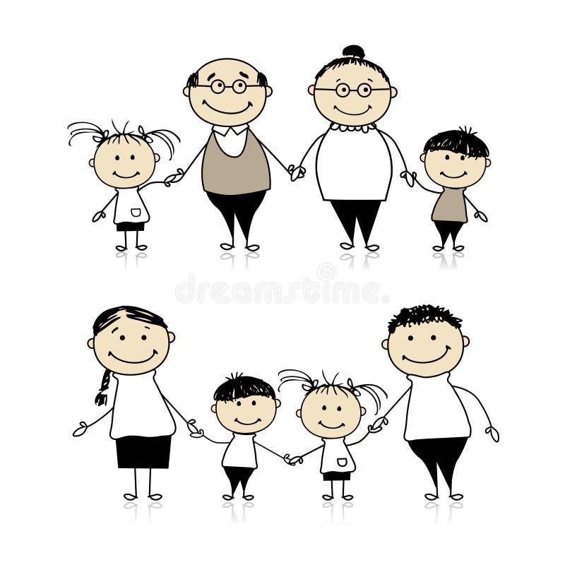 Padres, abuelos y niños ilustración del vector