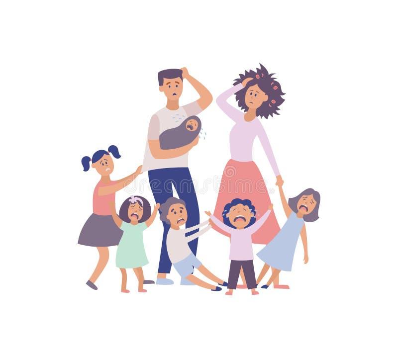 Padres cansados de la familia grande del problema del parenting del vector stock de ilustración