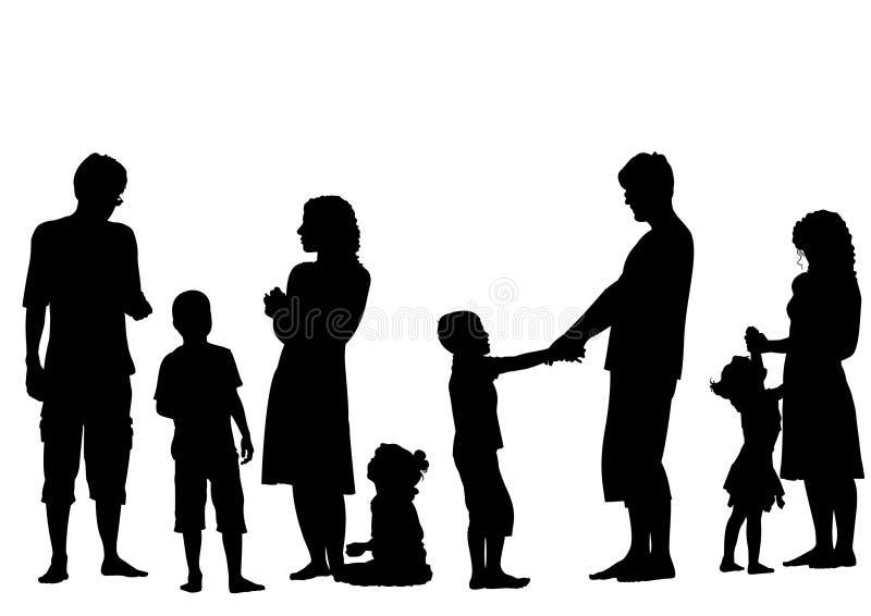 Padres con vector de la silueta de los niños stock de ilustración
