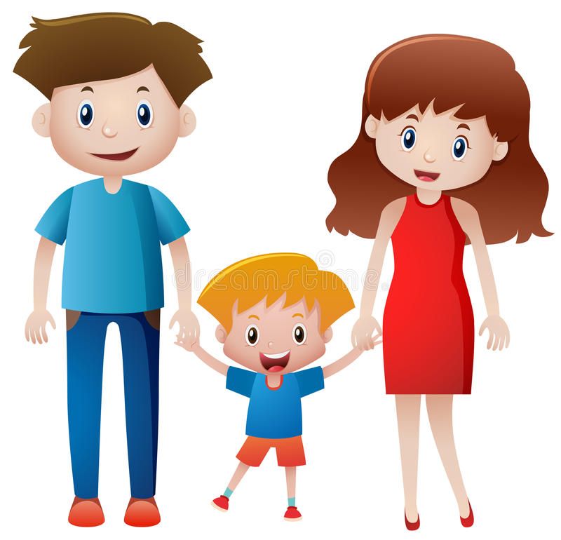 Padres e hijo que llevan a cabo las manos ilustración del vector