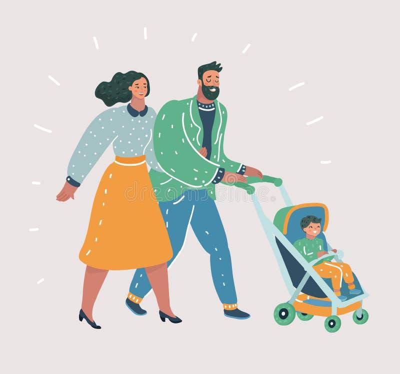 Padres felices que caminan con su pequeño niño ilustración del vector