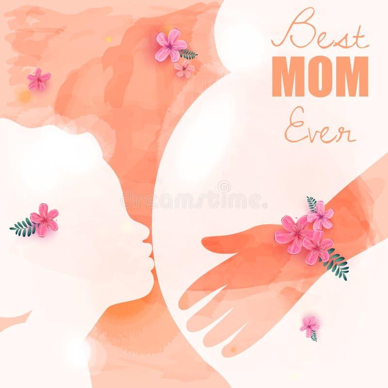 Padres felices que tienen buen tiempo con sus pequeños niños Mujeres embarazadas Día del `s de la madre Mamá y saludes infantiles stock de ilustración