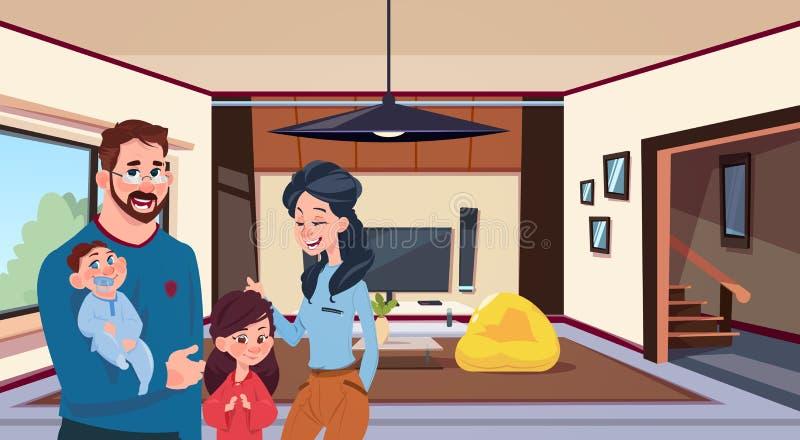 Padres jovenes de la familia con dos niños en sala de estar moderna en casa stock de ilustración