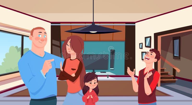 Padres jovenes de la familia en casa con la pequeña hija de dos niños y el hijo adolescente en sala de estar moderna ilustración del vector