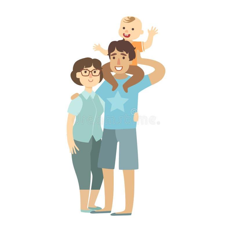 Padres jovenes e hijo que se sienta en hombros de los padres, ejemplo del niño de la serie cariñosa feliz de las familias stock de ilustración