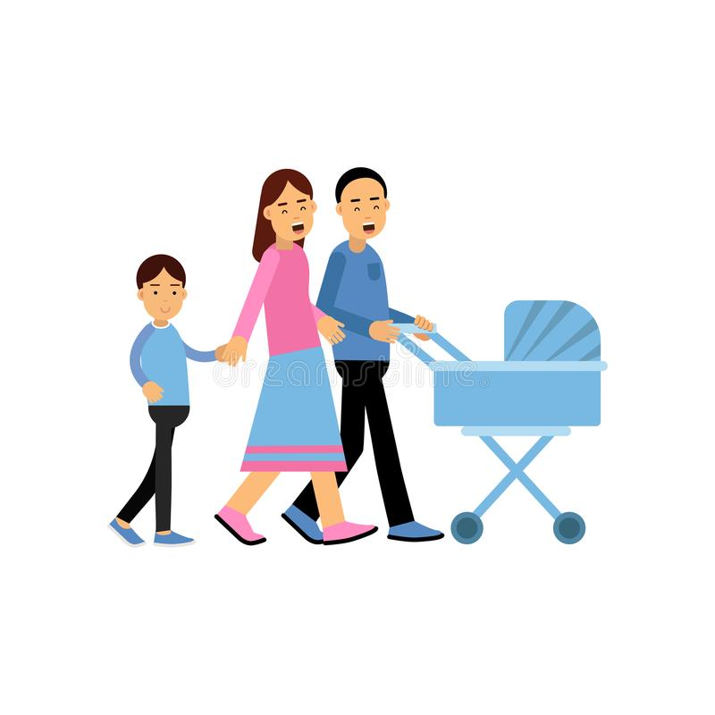 Padres jovenes que caminan con su hijo y bebé recién nacido en cochecito de niño, marido y esposa azules claros con vector de los ilustración del vector