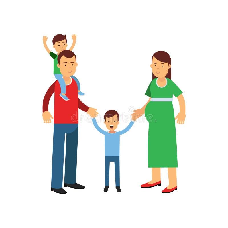 Padres jovenes que presentan con su hijo e hija, hijo que se sienta en hombros del papá, marido y esposa con vector de los niños libre illustration