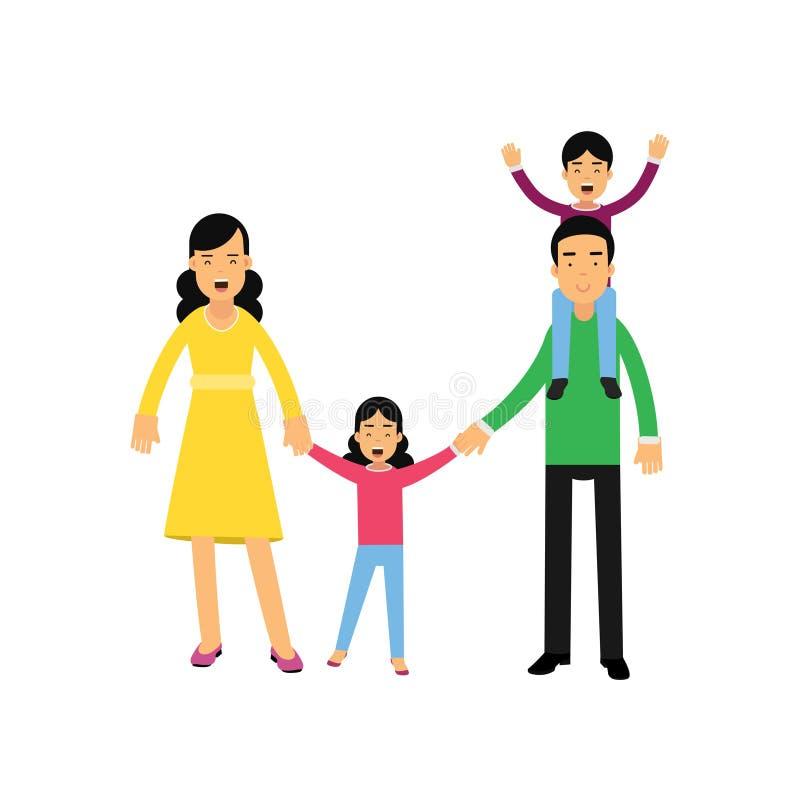 Padres jovenes que presentan con su sona e hija, hijo que se sienta en hombros del papá, marido y esposa con vector de los niños stock de ilustración