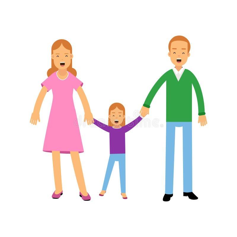 Padres jovenes que se colocan con su pequeña hija, ejemplo feliz del vector del concepto de familia ilustración del vector