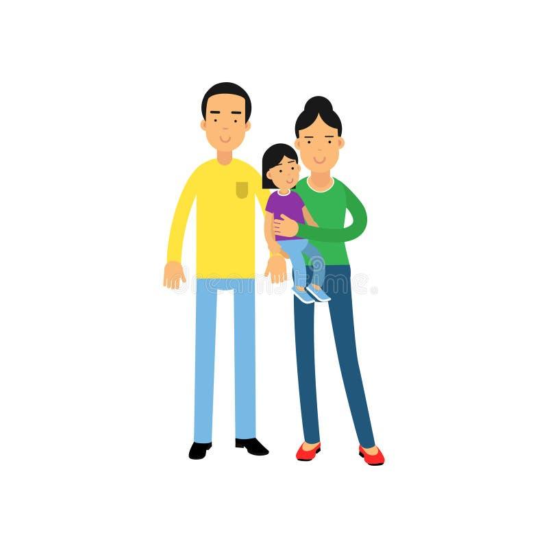 Padres jovenes que se colocan con su pequeña hija, ejemplo feliz del vector del concepto de familia stock de ilustración
