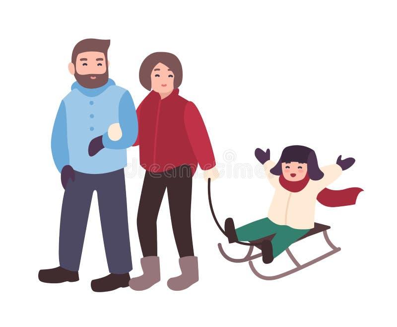 Padres que dibujan el trineo con su hijo Madre, padre y niño divirtiéndose al aire libre junto Pasatiempo del invierno ilustración del vector