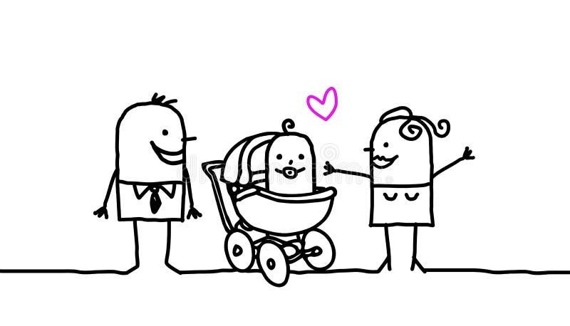Padres y bebé stock de ilustración