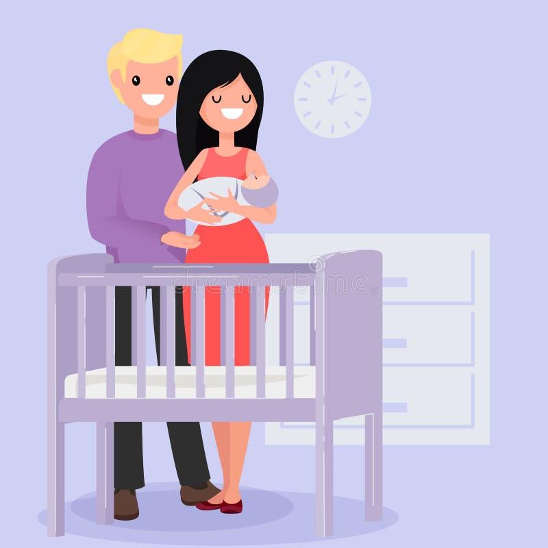 Padres y bebé jovenes felices libre illustration