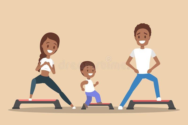 Padres y niños que hacen entrenamiento en gimnasio libre illustration