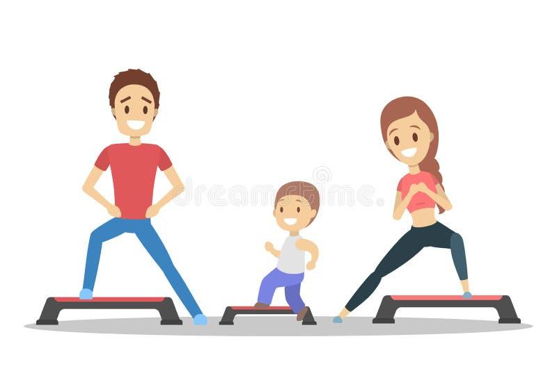 Padres y niños que hacen entrenamiento en gimnasio ilustración del vector