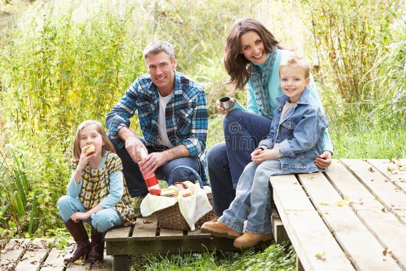 Padres y niños que tienen comida campestre fotografía de archivo