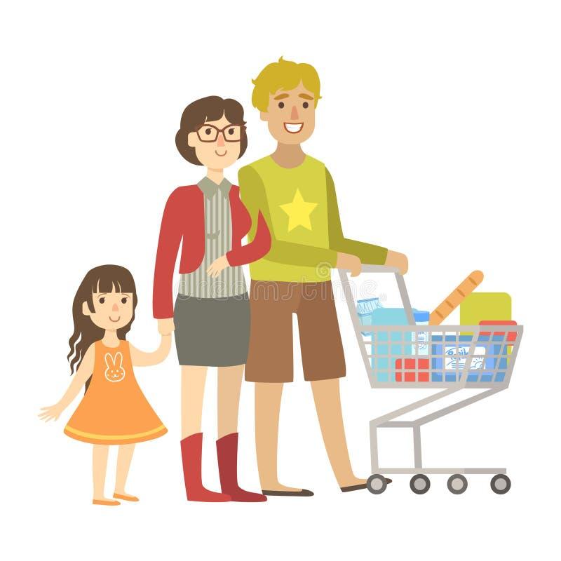 Padres y pequeñas compras de la hija para los ultramarinos en el supermercado, ejemplo de la serie cariñosa feliz de las familias libre illustration