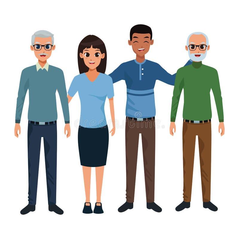 Padri anziani della famiglia con il fumetto del derivato del adultt e del figlio di afro illustrazione vettoriale