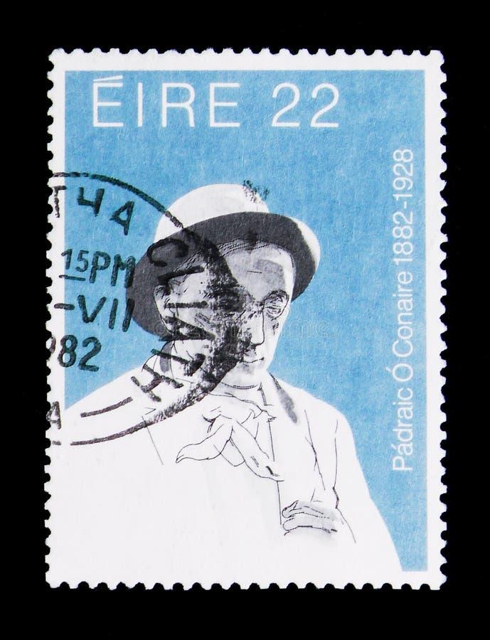 Padriac O ` Conaire 1882-1928, rocznicy Kulturalny postaci seria około 1982, fotografia stock