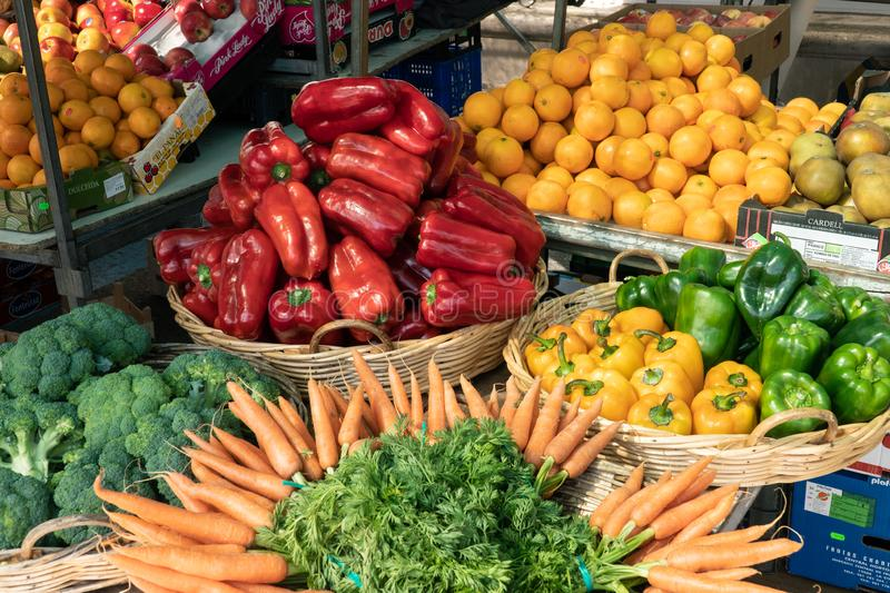Fresh fruits and vegetables at Spanish farmers market stock photography