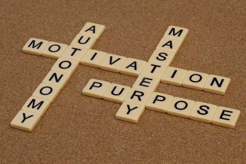 Padronanza, autonomia, scopo, motivazione immagini stock