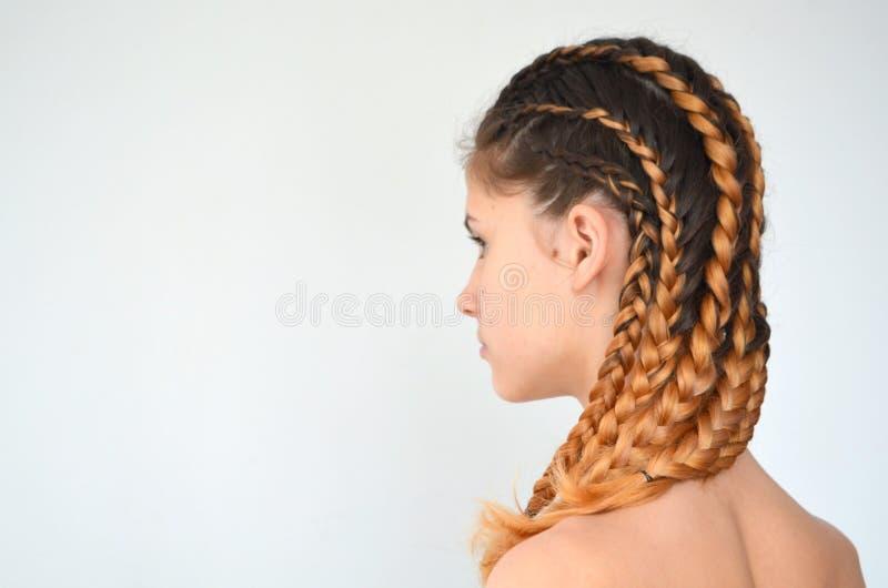 Padronanza di tessitura dai capelli con la lunghezza lunga di capelli immagine stock libera da diritti