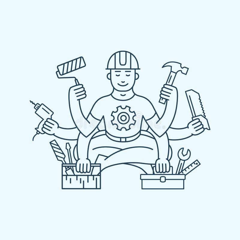 Padrone del riparatore con sei illustrazioni di vettore di logo dell'icona delle mani royalty illustrazione gratis