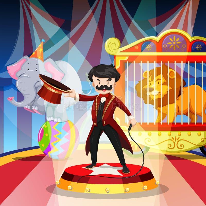 Padrone e spettacolo di animali dell'anello illustrazione di stock