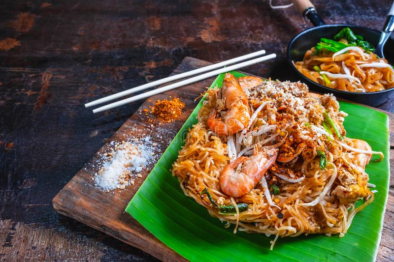 Padthai noodles with shrimps and vegetables. royalty free stock images