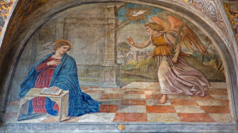 Padua - The Annunciation in the church San Francesco del Grande in chapel Cappella di Santa Maria della Carita. PADUA, ITALY - SEPTEMBER 8, 2014: The royalty free stock image