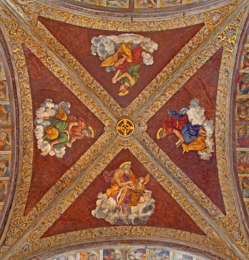 Padua - The ceiling fresco in church San Francesco del Grande with the Four Evangelist in chapel Santa Maria della Carita. PADUA, ITALY - SEPTEMBER 8, 2014: The royalty free stock photography