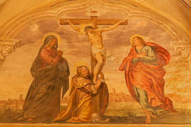 Padua - de Fresko van kruisiging of Calvary in kerksan Benedetto vecchio (Heilige Benedict) van 16 cent royalty-vrije stock afbeeldingen