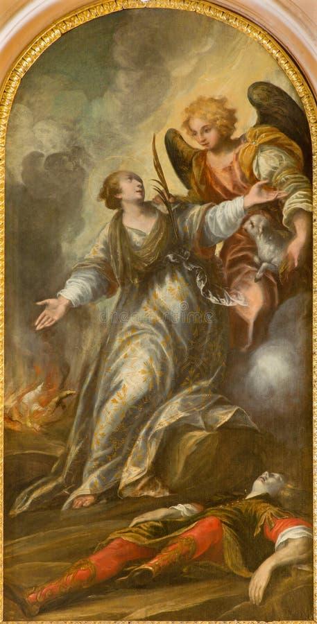 Padua - die Malerei des Ruhmes des Heiligen Agnese von 16 cent in der Kirche von Sankt Nikolaus durch unbekannten Maler stockfotografie
