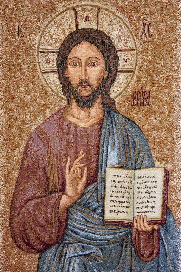 Padua - die Stickerei von Jesus Christ der Lehrer in vecchio Kirche Sans Benedetto stockfoto