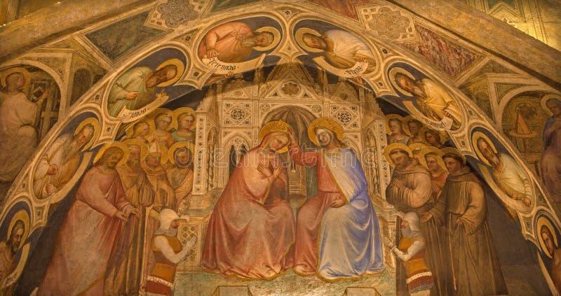 Padua - fresco de la coronación de la Virgen María en Basilica del Santo o la basílica de St Anthony de Padua de Giusto de Menabu foto de archivo libre de regalías