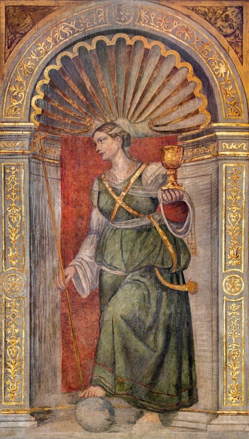 Padua - The fresco of Faith cardinal virute in chapel Santa Maria della Carita in the church San Francesco del Grande. The fresco of Faith cardinal virute in royalty free stock photography