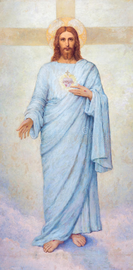 Padua - het hart van Jesus Christ-verf in Kathedraal van Santa Maria Assunta (Duomo) royalty-vrije stock afbeeldingen