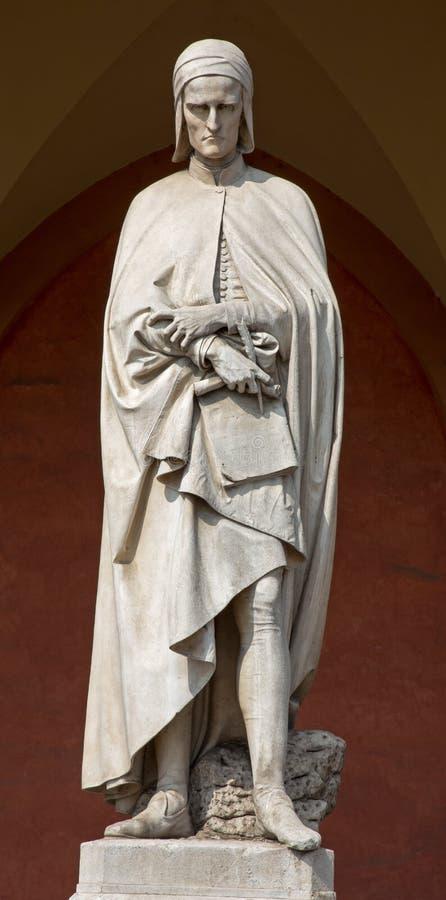 Padua - het standbeeld van Dante Alighieri in de portiek van de Loge Amulea door Vincenzo Vela stock foto